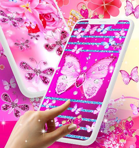 Diamond butterfly pink live wallpaper apktram screenshots 2
