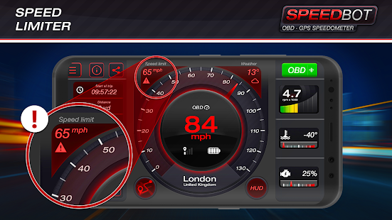 Speedbot. Free GPS/OBD2 Speedometer screenshots 2