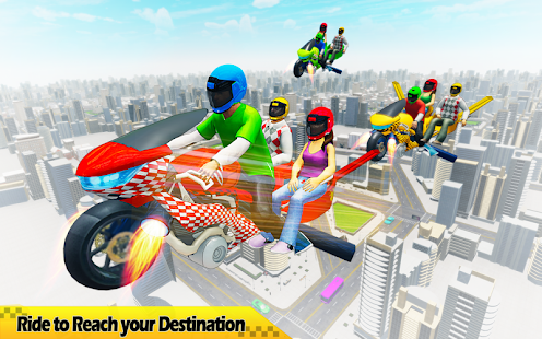 Flying Hover Bike Taxi Driver City Passenger Sim screenshots 11