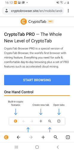 CryptoTab Browser Pro—mine on a PRO level screen 2