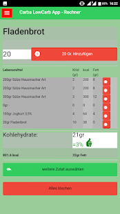 Low-Carb Foodlist, Tips, (Calculator) - No Ads