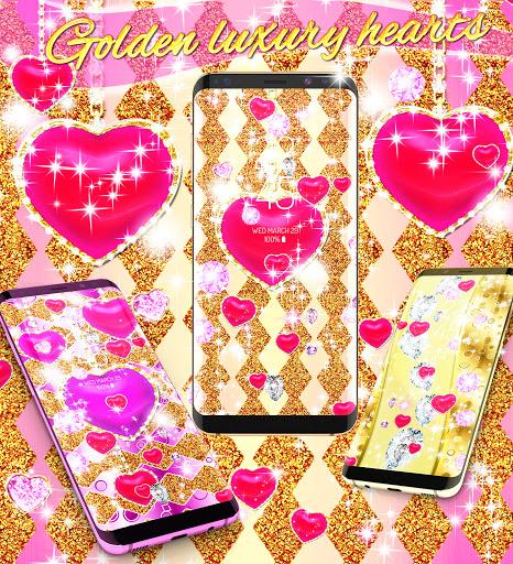 Golden luxury diamond hearts live wallpaper apktram screenshots 4