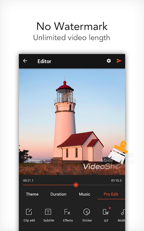 VideoShow Pro - Video Editor, music, no watermark  poster 0
