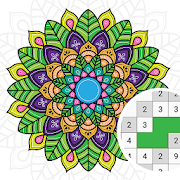 Mandala Pixel Art Free Color By Number Paint Book