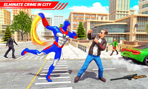 Flying Police Robot Rope Hero: Gangster Crime City  screenshots 6