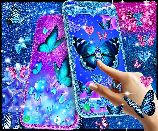 Blue glitter butterflies live wallpaper apktram screenshots 15