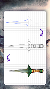 How to draw weapons. Daggers. Step by step lessons
