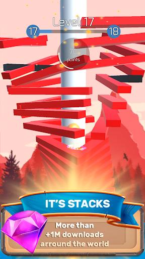 the stack tower : ball fall game 3d stick blocks ☄ screenshot 1