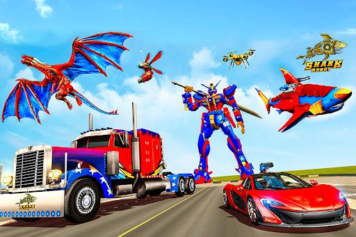 Real Shark Robot Car Game u2013 Police Truck Robot  screenshots 1