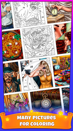 Color By Number Secrets - Coloring Book Stories  screenshots 1