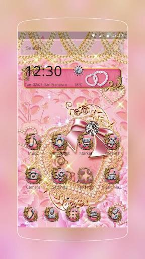 Pink Gold Diamond Live Theme  APK screenshots 1