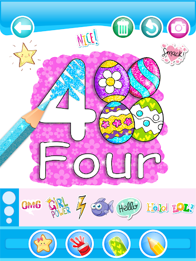Glitter Number and letters coloring Book for kids 3.8 Screenshots 9