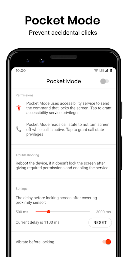 Pocket Mode: Prevent accidental clicks screenshots 1