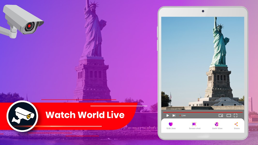 Live Earth Webcam HD: 3D World Map, GPS Navigation