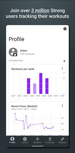 Strong - Workout Tracker Gym Log  Screenshots 1