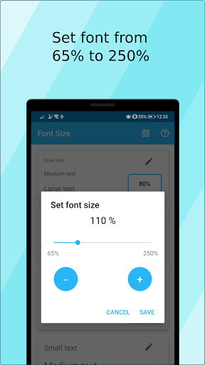 Font Size (ad free) screen 2