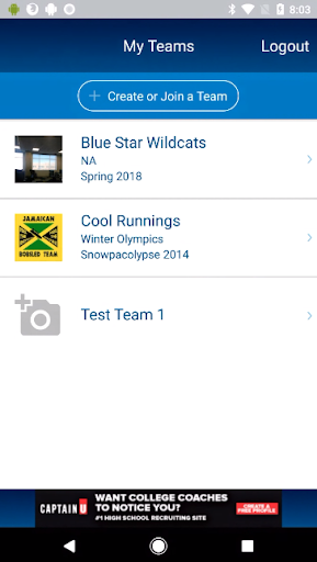 sports team connect screenshot 1