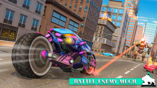 Flying Tiger Robot Attack: Flying Bike Robot Game apktram screenshots 9