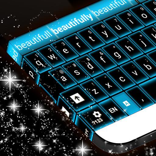 متوهجة الأزرق النيون لوحة المفاتيح