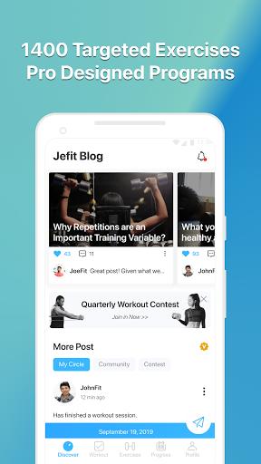 JEFIT Workout Tracker, Weight Lifting, Gym Log App 10.80 Screenshots 5