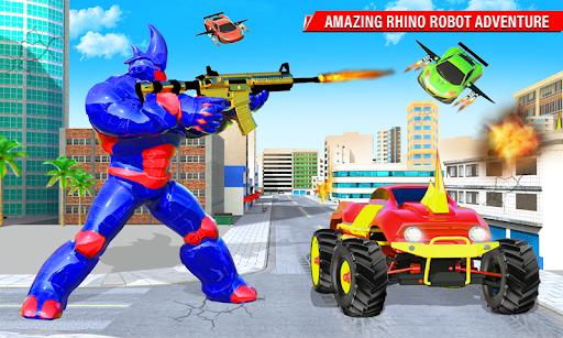 Rhino Robot Monster Truck Transform Robot Games  screenshots 4