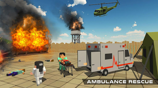 Blocky US Fire Truck & Army Ambulance Rescue Game apkmr screenshots 16