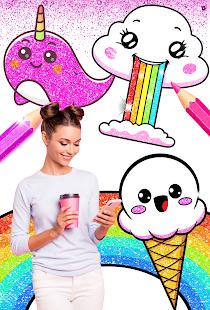 Rainbow Glitter Coloring Book - Unicorn Artist