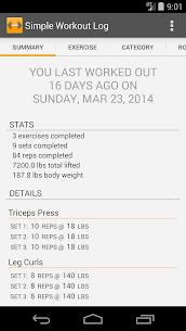 Free Simple Workout Log PRO Key 1