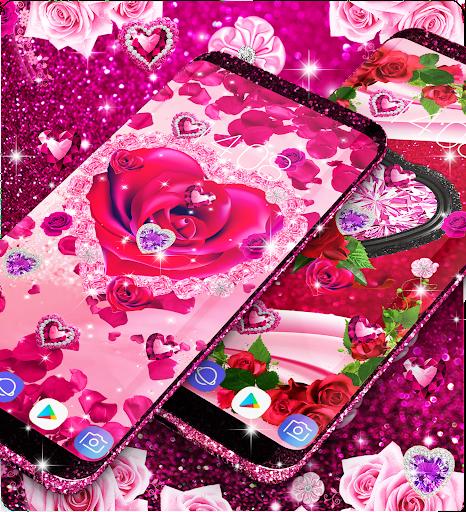 Diamond rose glitter live wallpaper apktram screenshots 2