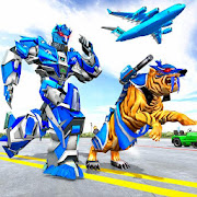 US Police Tiger Robot Game: Police Plane Transport