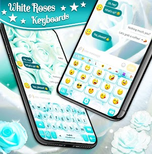White Rose Keyboard 🌹 Beautiful Blue Roses Themes 2.3.2 APK Mod for Android 2