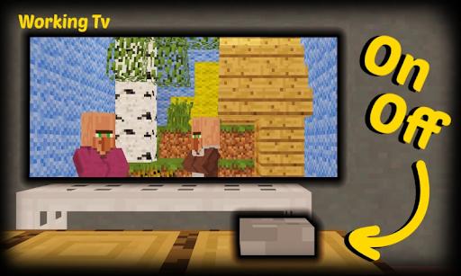 Working TV Decoration Furniture Mod MC PE 3.9 screenshots 1