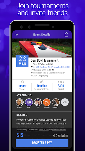 aca cornhole tournament game screenshot 3