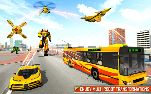 Bus Robot Car Transform: Flying Air Jet Robot Game apktram screenshots 5