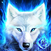 Blue Ice Fire Wolf Wallpaper
