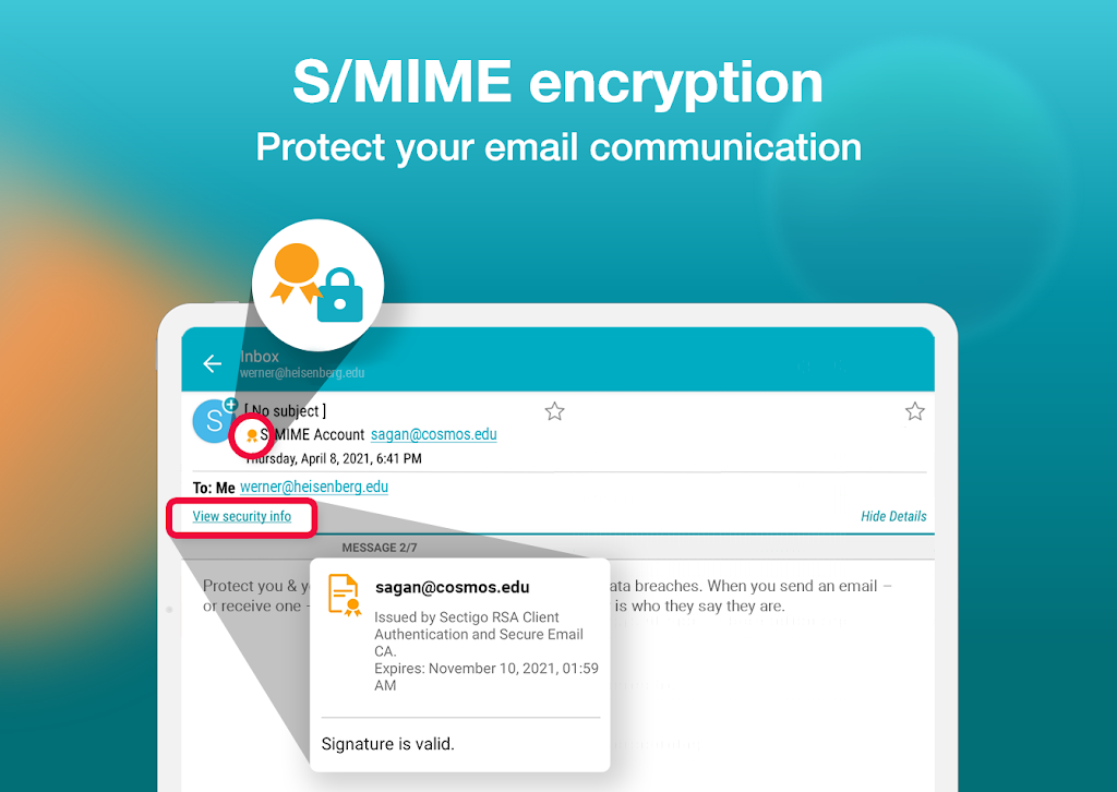 Email Aqua Mail - Exchange, SMIME, Smart inbox poster 19