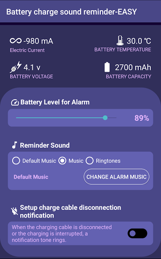 Battery charge sound reminder-EASY