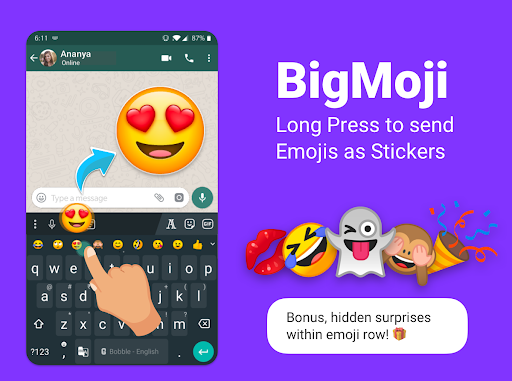 Bobble Indic Keyboard - Stickers, u0492onts & Themes android2mod screenshots 3