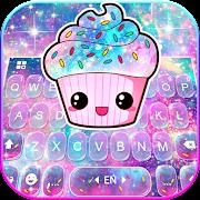 Galaxy Hot Pink Cupcake Keyboard Theme