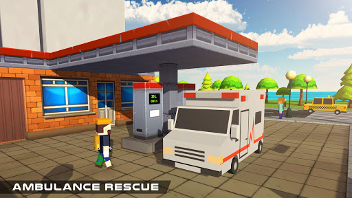 Blocky US Fire Truck & Army Ambulance Rescue Game apkmr screenshots 10