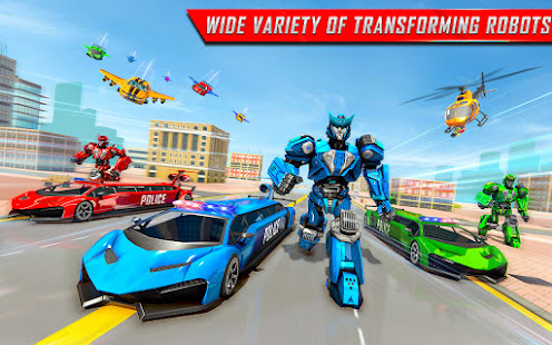 Flying Limo Robot Car Transform: Police Robot Game 1.0.32 Screenshots 9