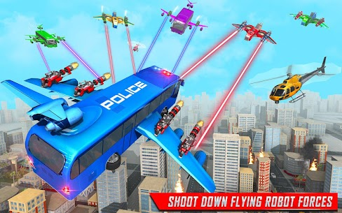Flying Bus Robot Transform War Mod Apk- Police Robot (Dumb Enemy) 6