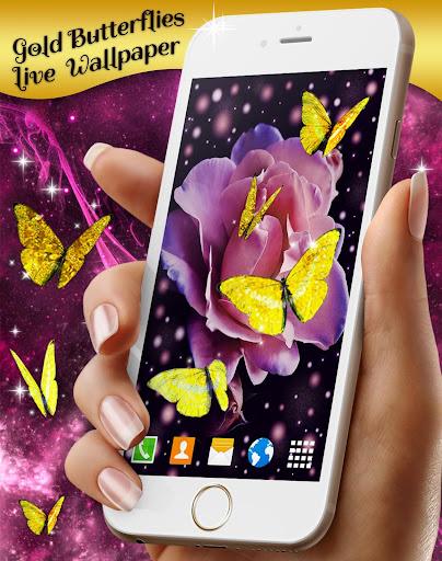 gold butterfly live wallpaper 🦋 golden wallpapers screenshot 1
