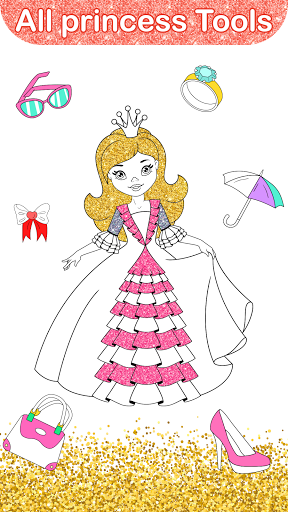 Glitter Dress Coloring Pages for Girls  Screenshots 6
