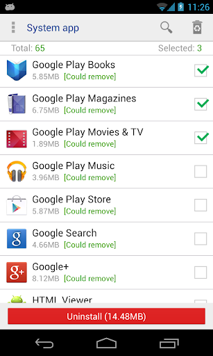 System app remover (root needed) 7.2 Screenshots 1