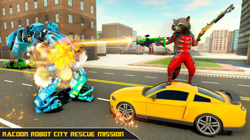 Raccoon Robot Hero Game: Flying Bike Robot Games  Screenshots 16