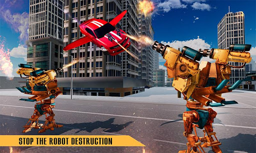 Flying Robot Car Games - Robot Shooting Games 2020 2.1 screenshots 1