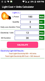 Electricity Cost, Units and Bill Calculator