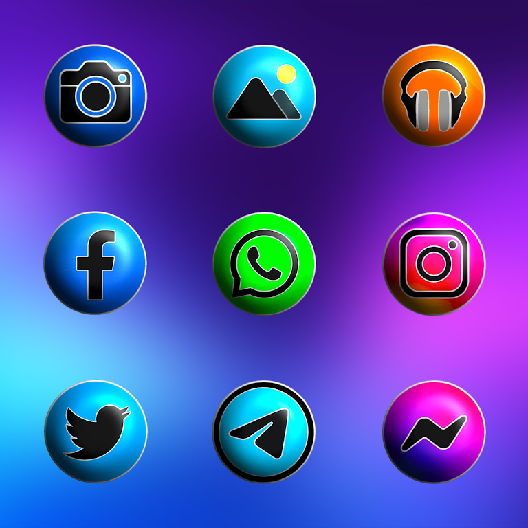 Pixly Fluo 3D - Icon Pack  poster 2