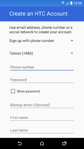 Foto do HTC Account—Services Sign-in